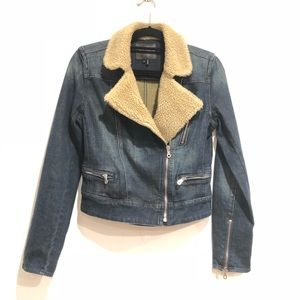 PAIGE Sydney Sherpa Blue Denim Jean Jacket